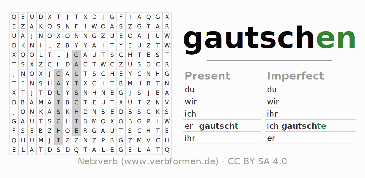 Word search puzzle for the conjugation of the verb gautschen