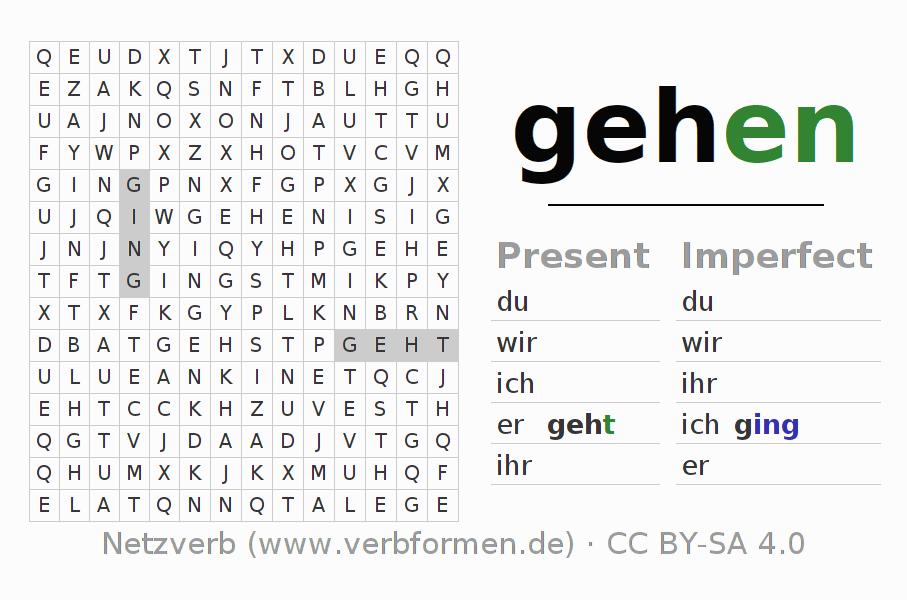 Worksheets Verb Gehen Exercises For Conjugation Of