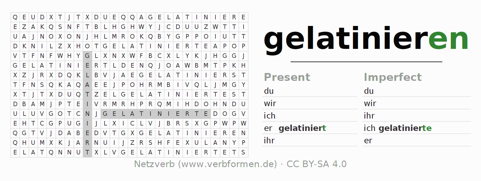 Word search puzzle for the conjugation of the verb gelatinieren (hat)