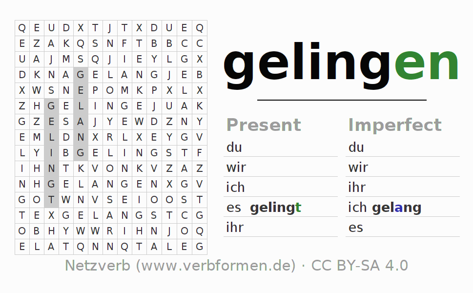 Word search puzzle for the conjugation of the verb gelingen