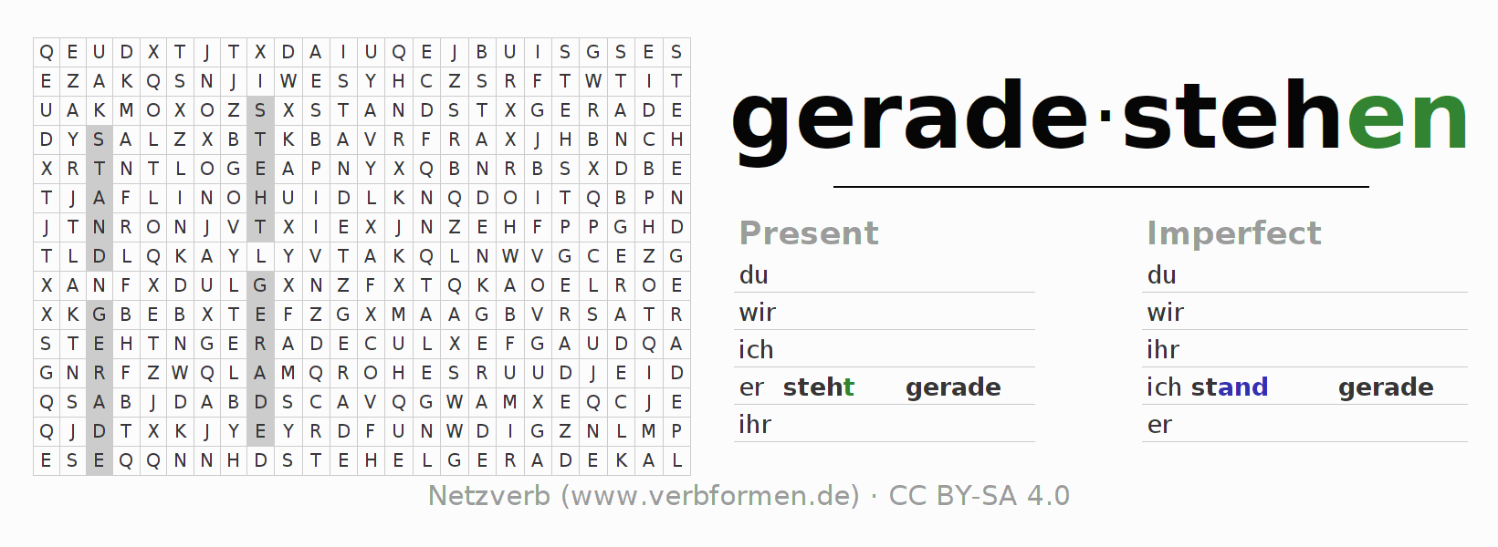 Word search puzzle for the conjugation of the verb geradestehen (hat)