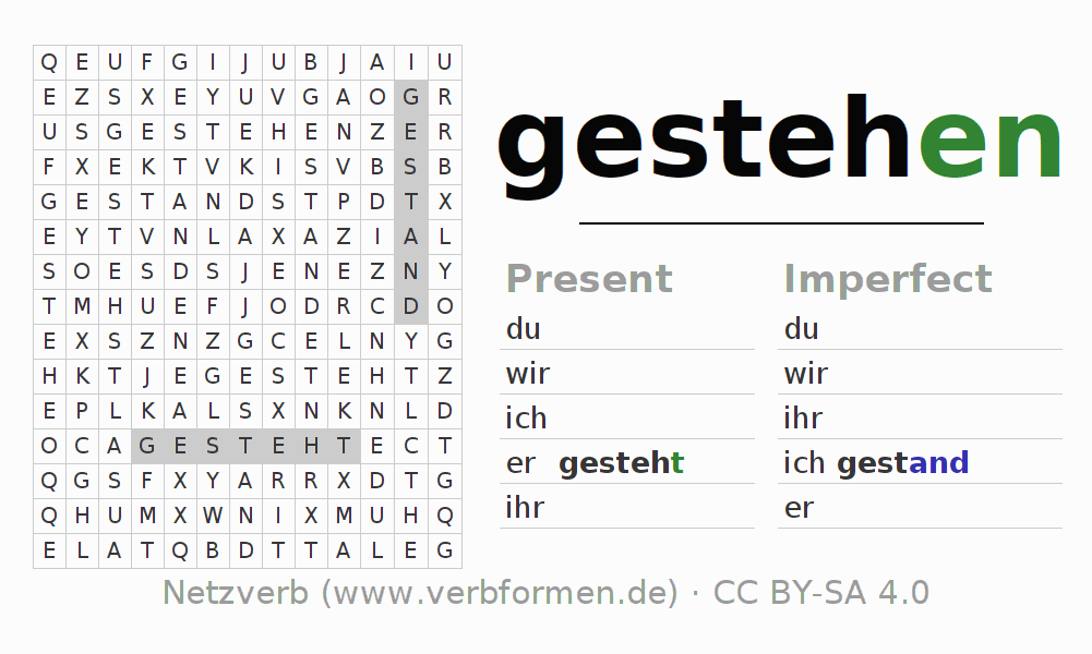 Word search puzzle for the conjugation of the verb gestehen