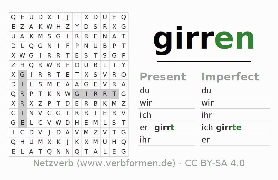 Word search puzzle for the conjugation of the verb girren