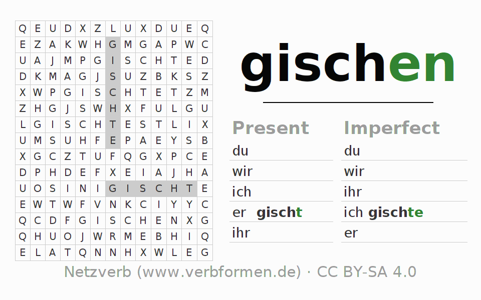 Word search puzzle for the conjugation of the verb gischen