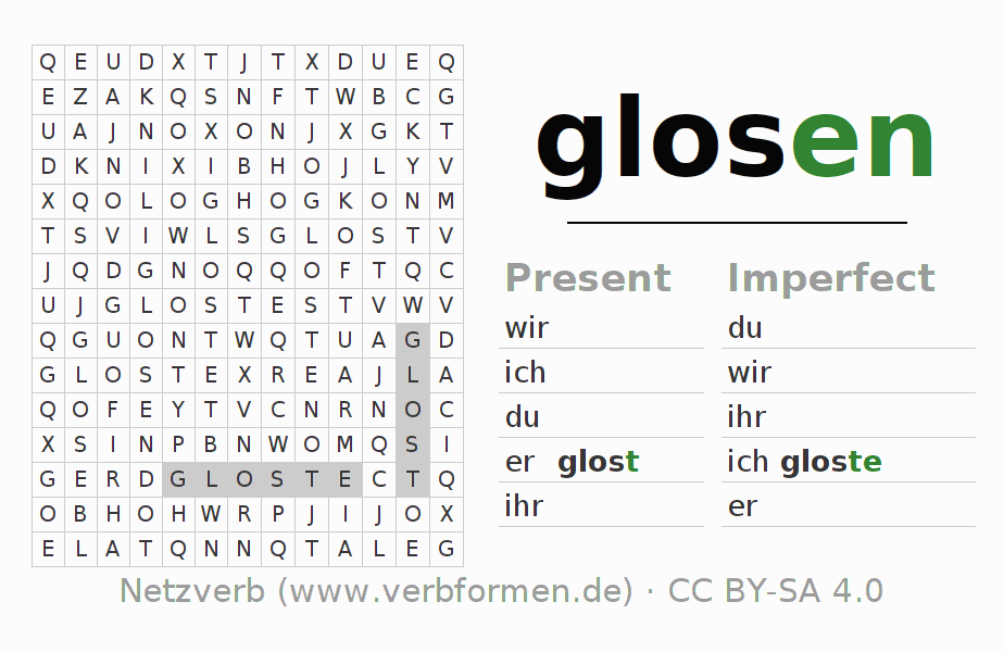 Word search puzzle for the conjugation of the verb glosen