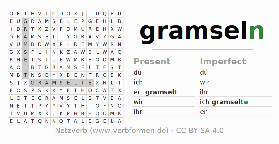 Word search puzzle for the conjugation of the verb gramseln