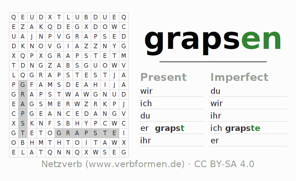 Word search puzzle for the conjugation of the verb grapsen