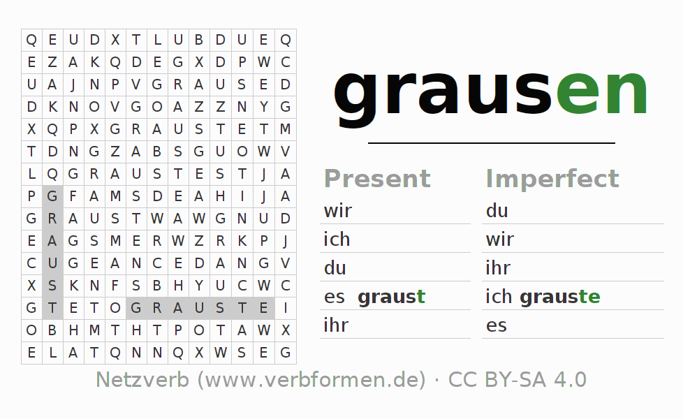 Word search puzzle for the conjugation of the verb grausen