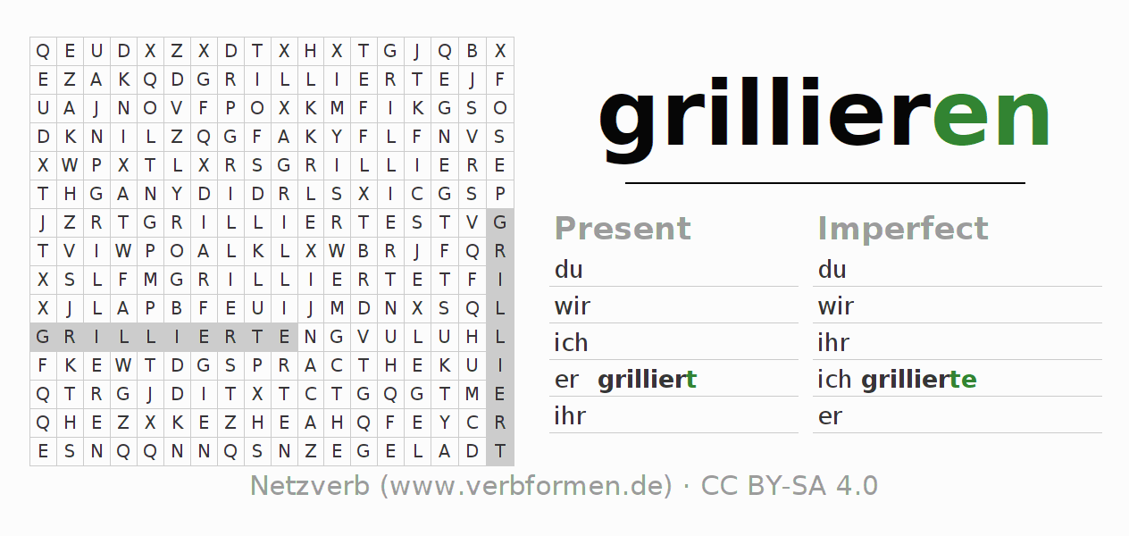 Word search puzzle for the conjugation of the verb grillieren