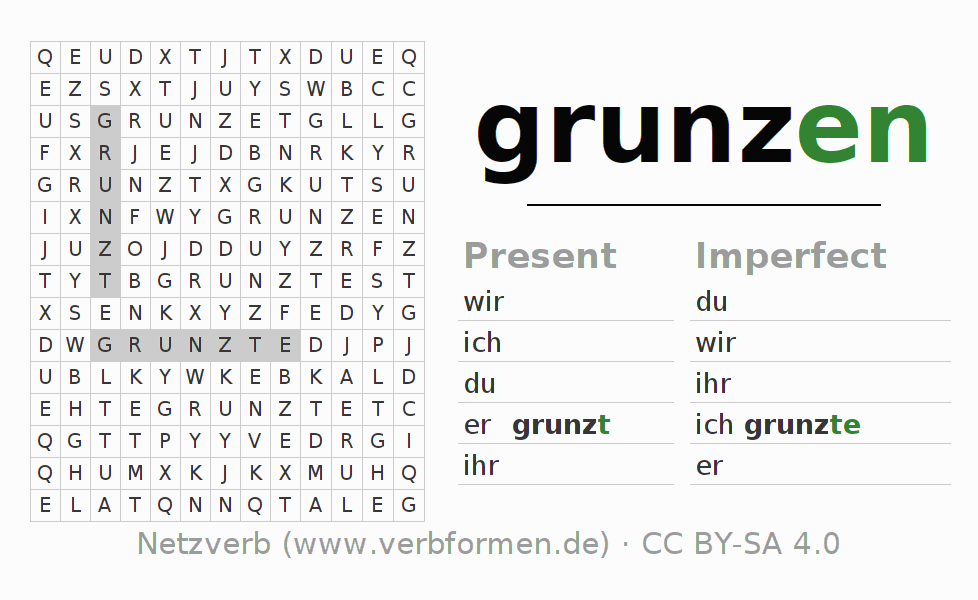 Word search puzzle for the conjugation of the verb grunzen
