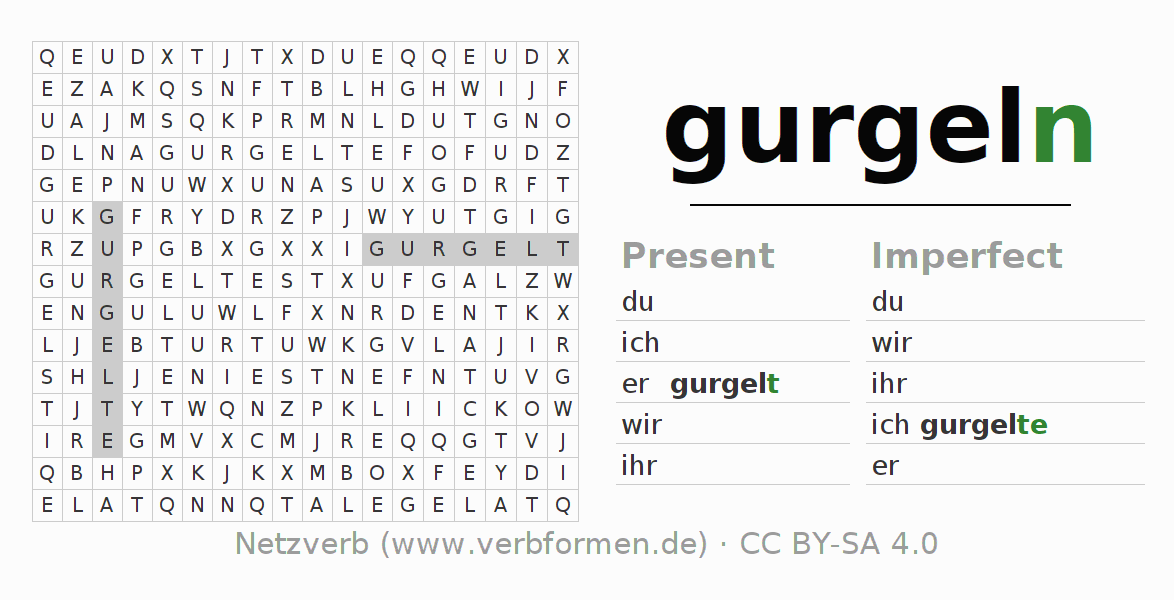 Word search puzzle for the conjugation of the verb gurgeln