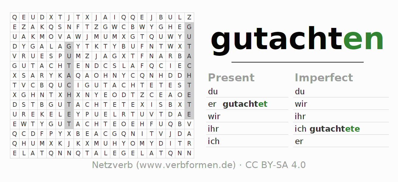 Word search puzzle for the conjugation of the verb gutachten (hat)