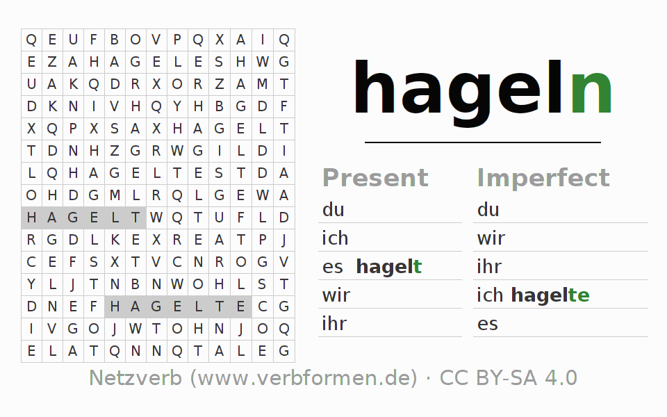 Word search puzzle for the conjugation of the verb hageln (hat)