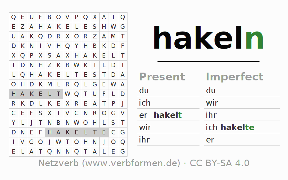 Word search puzzle for the conjugation of the verb hakeln