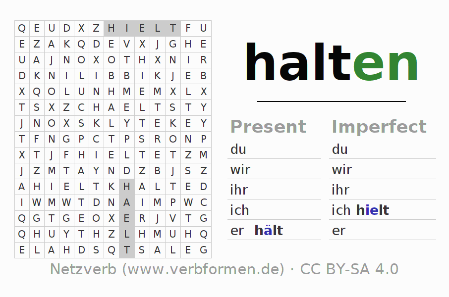 Word search puzzle for the conjugation of the verb halten