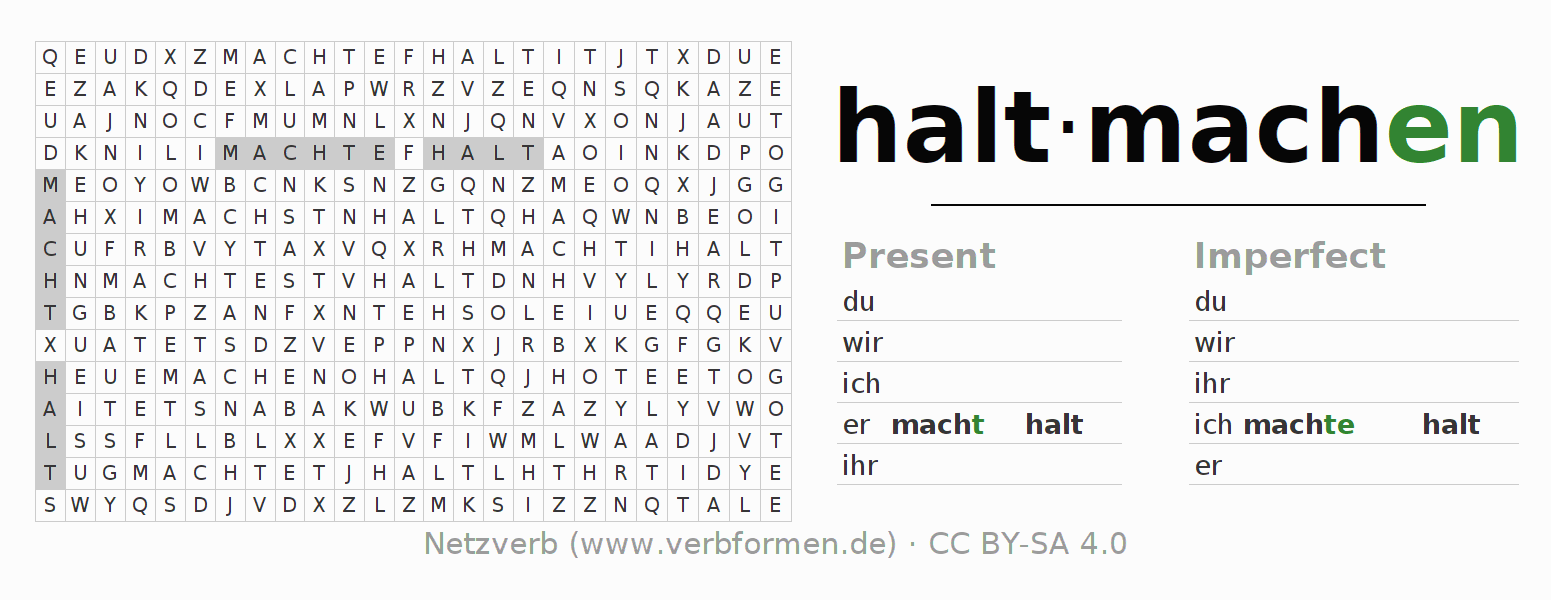 Word search puzzle for the conjugation of the verb haltmachen