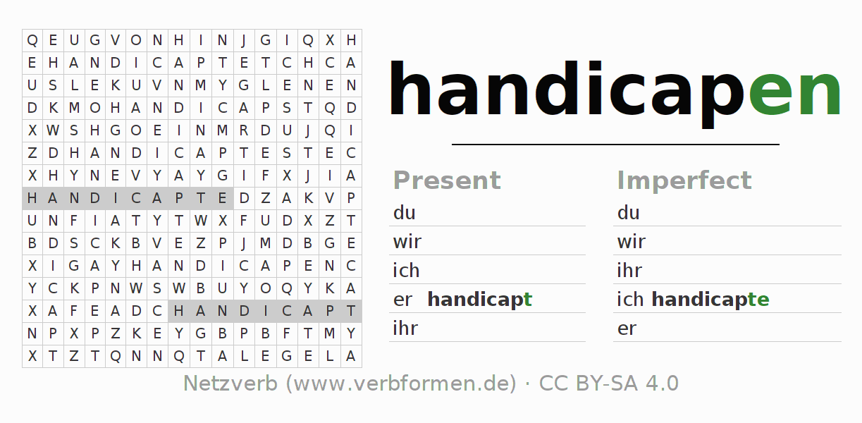 Word search puzzle for the conjugation of the verb handicapen