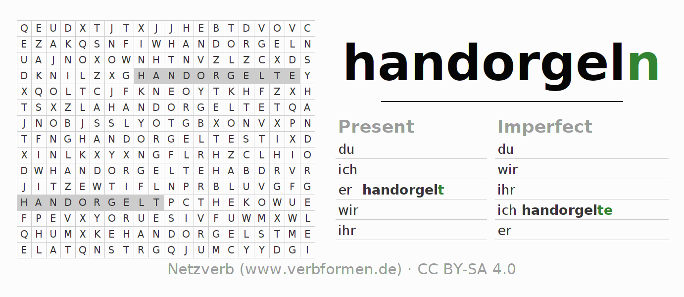Word search puzzle for the conjugation of the verb handorgeln
