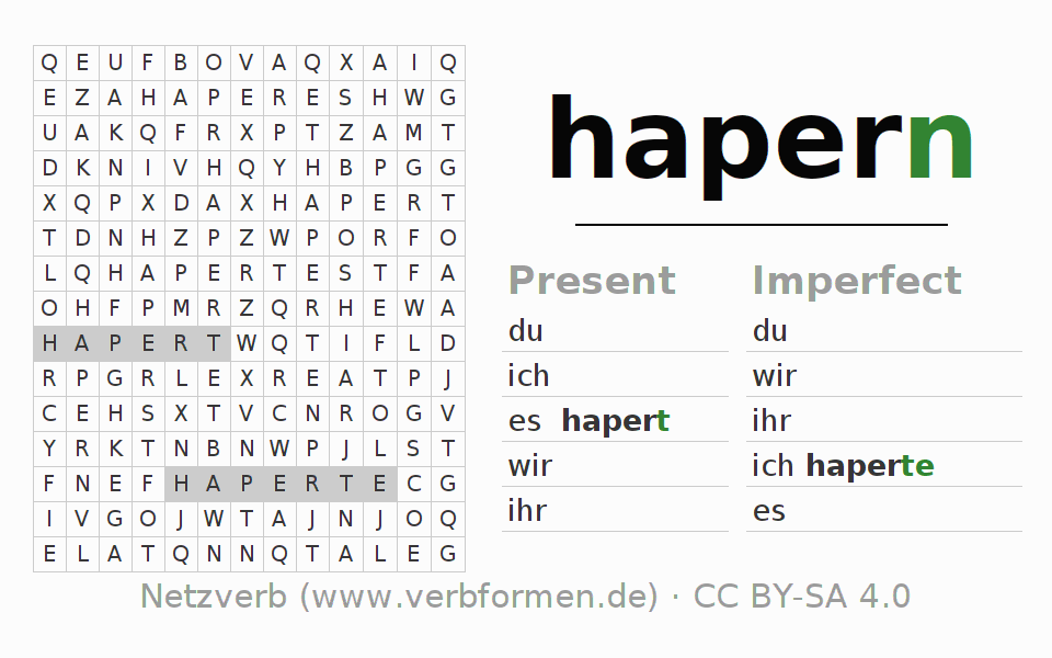 Word search puzzle for the conjugation of the verb hapern