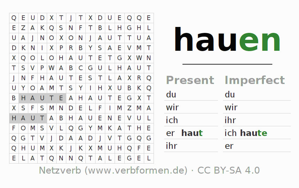 Word search puzzle for the conjugation of the verb hauen (regelm) (ist)
