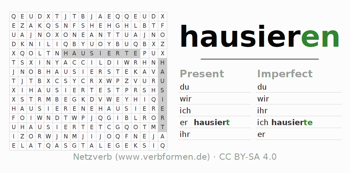 Word search puzzle for the conjugation of the verb hausieren