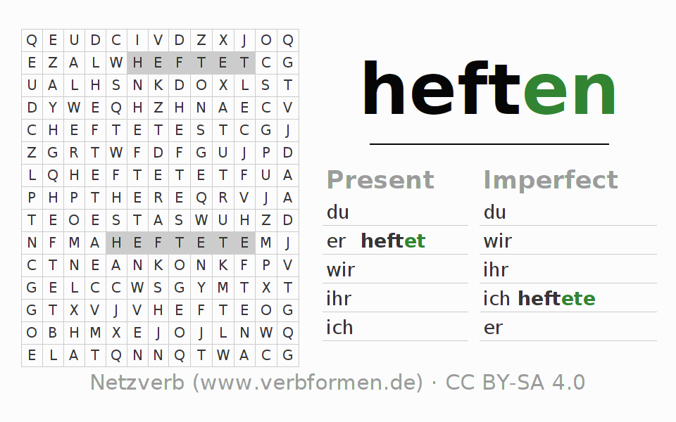 Word search puzzle for the conjugation of the verb heften
