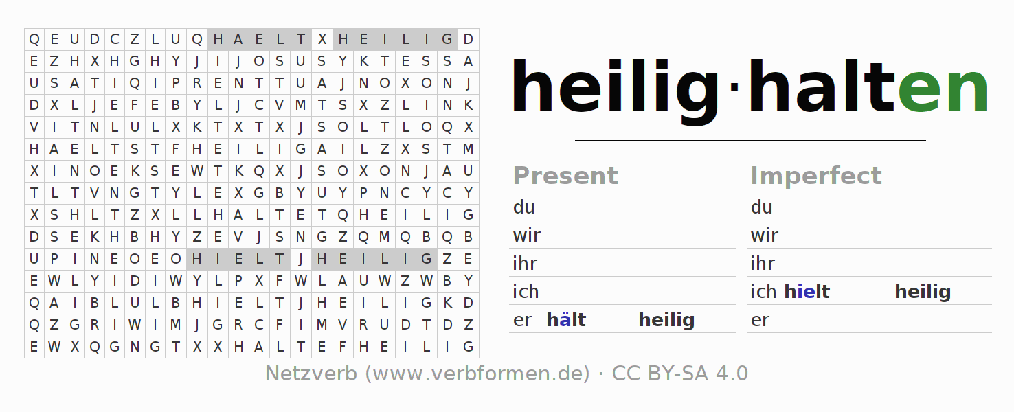 Word search puzzle for the conjugation of the verb heilighalten
