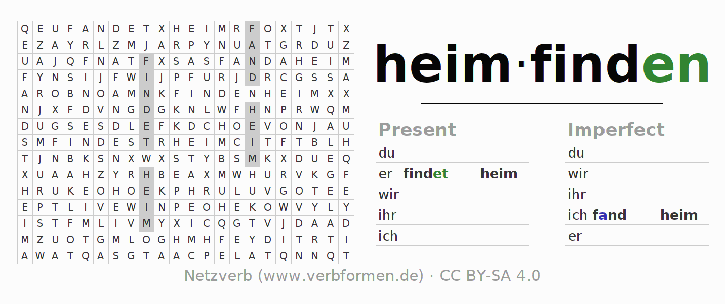 Word search puzzle for the conjugation of the verb heimfinden