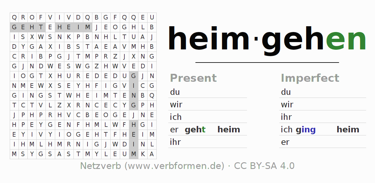 Word search puzzle for the conjugation of the verb heimgehen