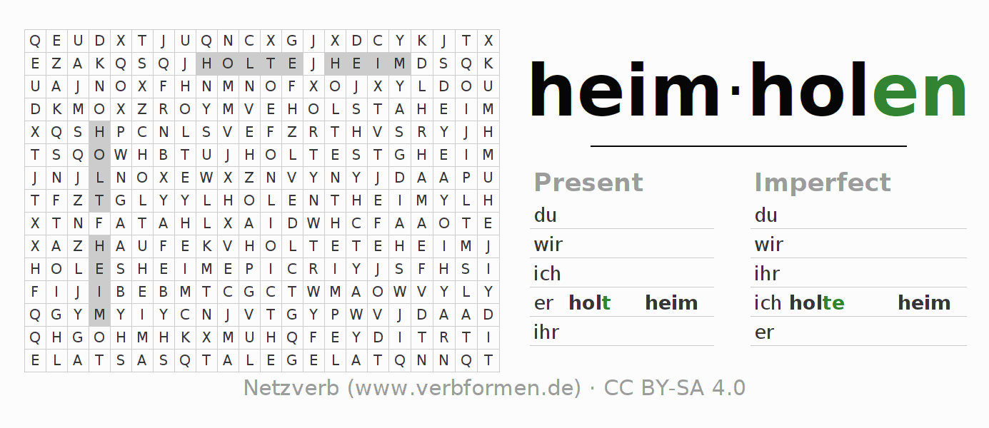 Word search puzzle for the conjugation of the verb heimholen
