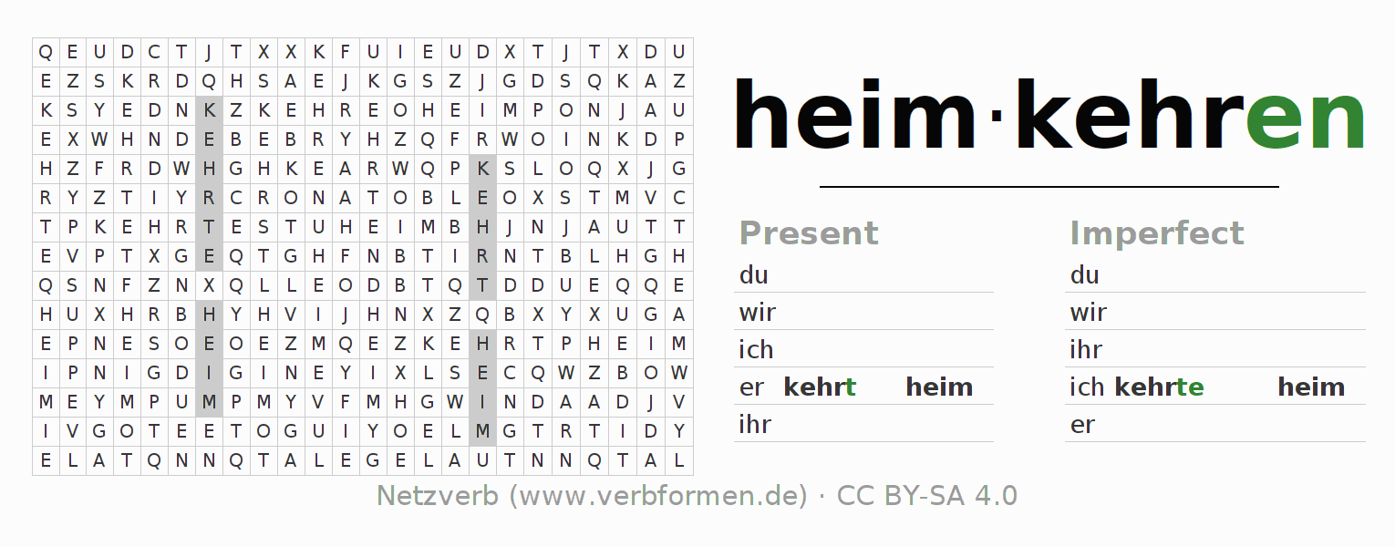 Word search puzzle for the conjugation of the verb heimkehren
