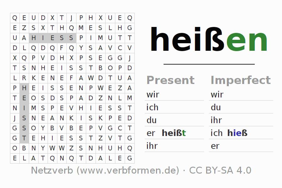 worksheets verb hei en exercises for conjugation of german verbs netzverb. Black Bedroom Furniture Sets. Home Design Ideas