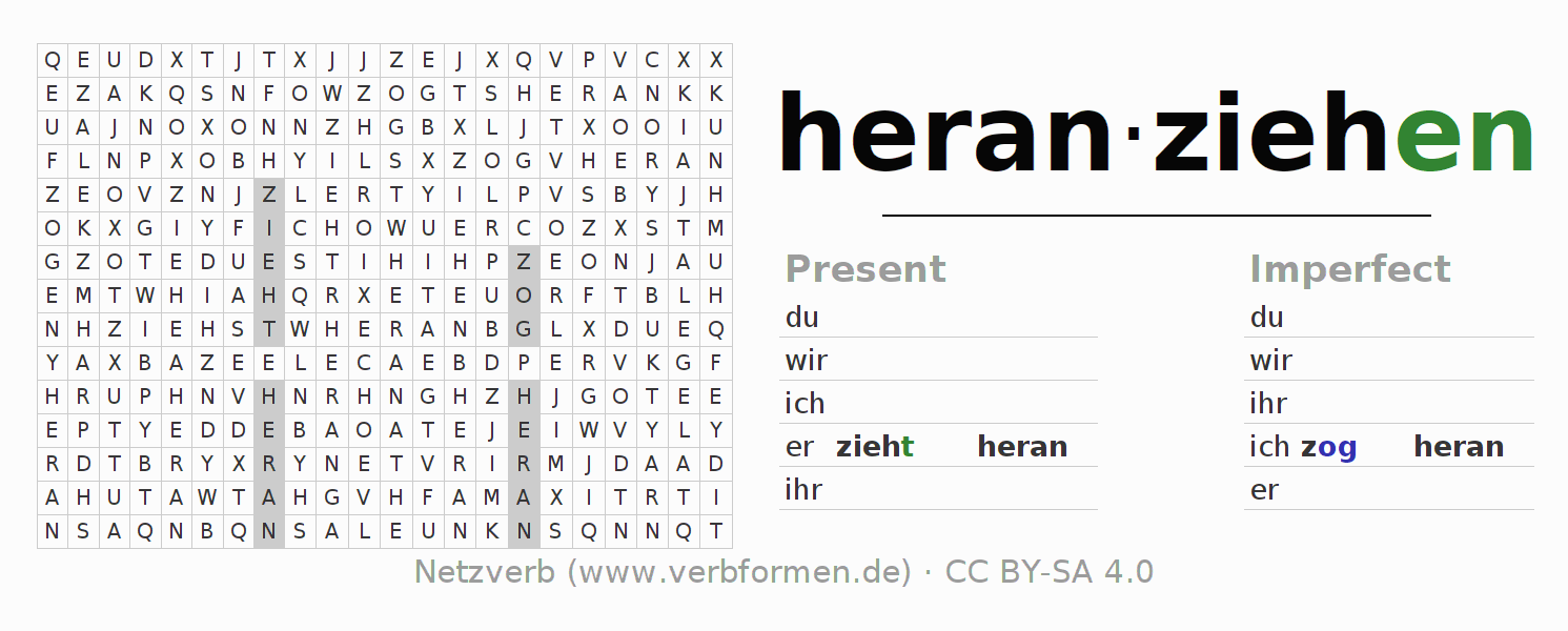 Word search puzzle for the conjugation of the verb heranziehen (hat)