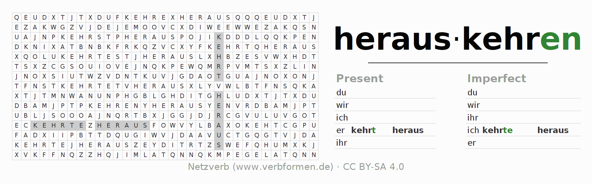 Word search puzzle for the conjugation of the verb herauskehren