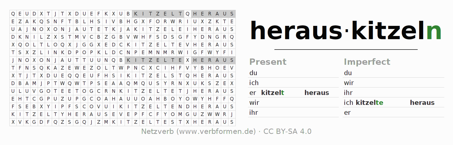 Word search puzzle for the conjugation of the verb herauskitzeln