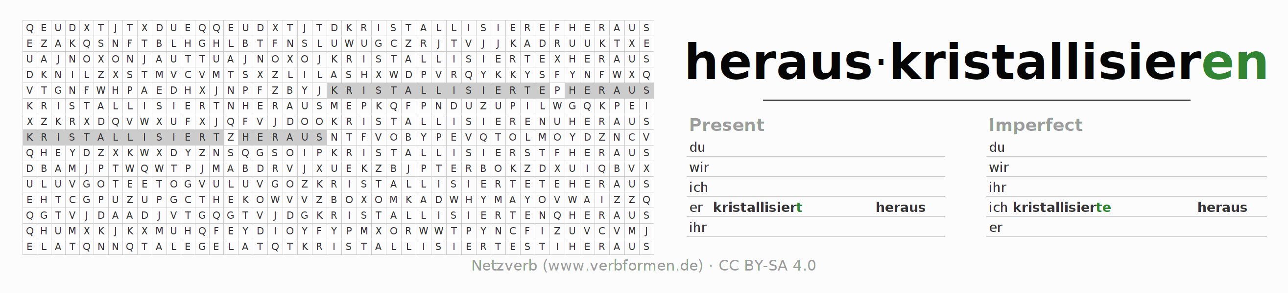 Word search puzzle for the conjugation of the verb herauskristallisieren