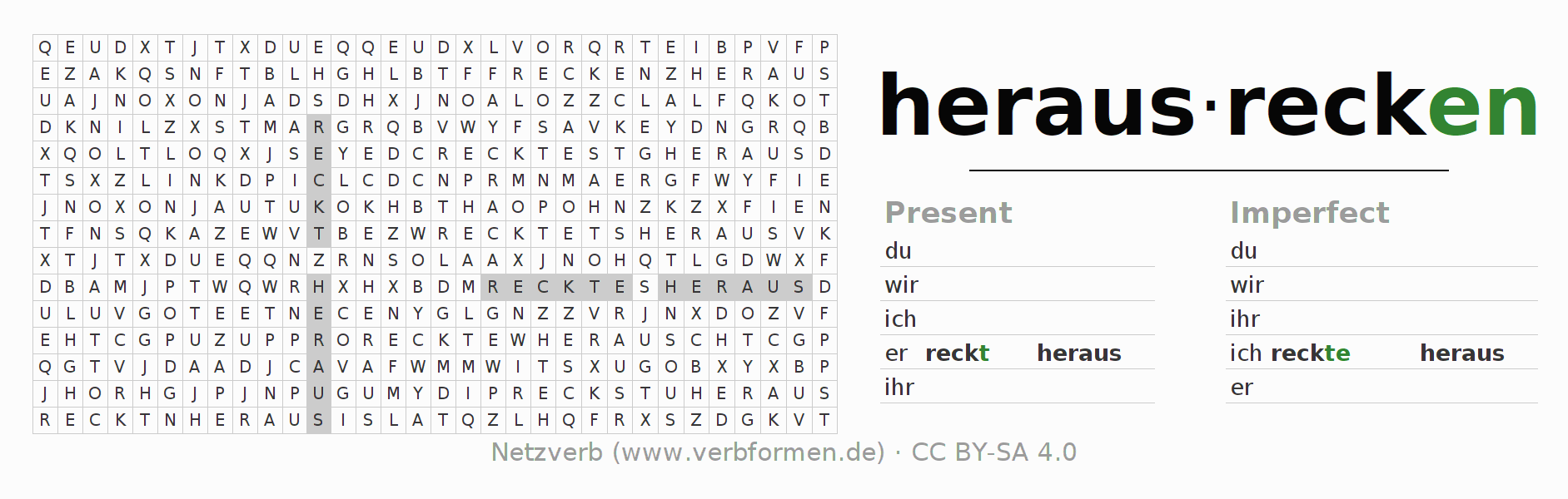 Word search puzzle for the conjugation of the verb herausrecken