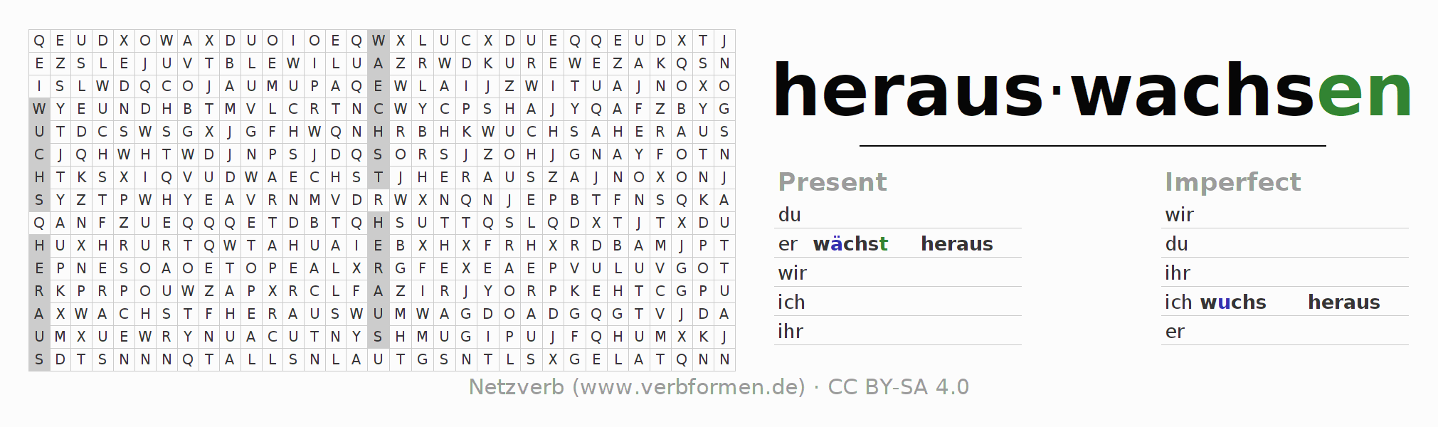 Word search puzzle for the conjugation of the verb herauswachsen