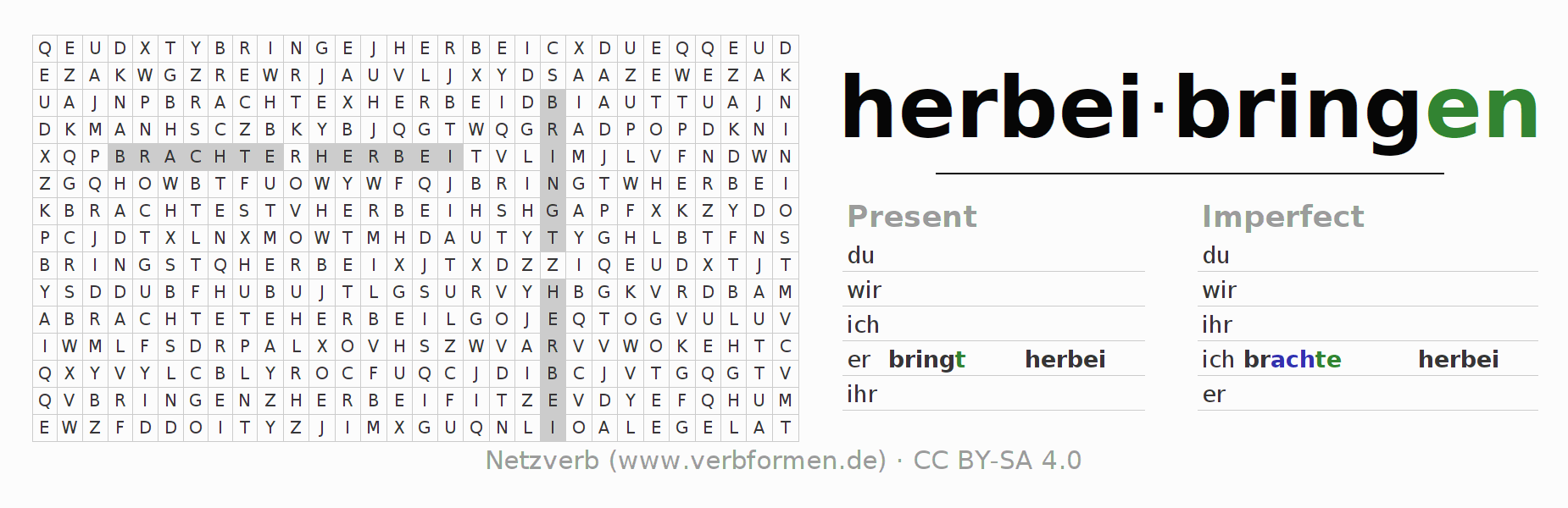 Word search puzzle for the conjugation of the verb herbeibringen