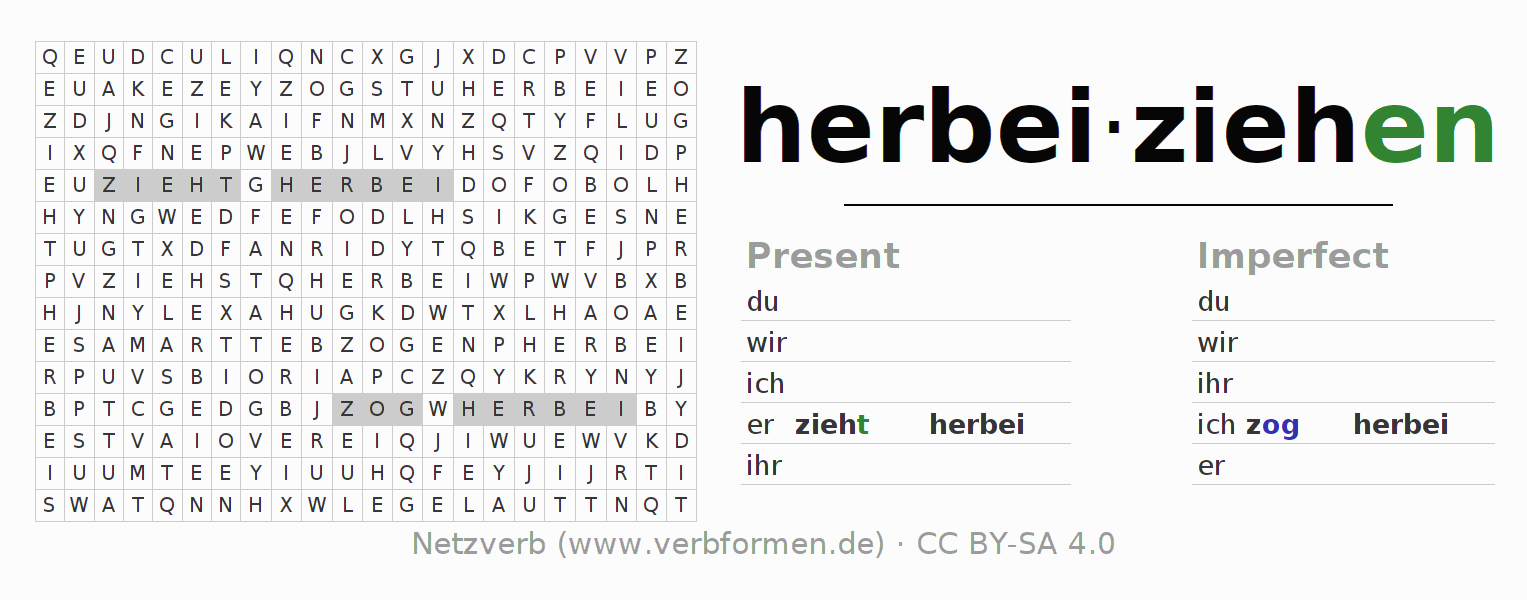 Word search puzzle for the conjugation of the verb herbeiziehen