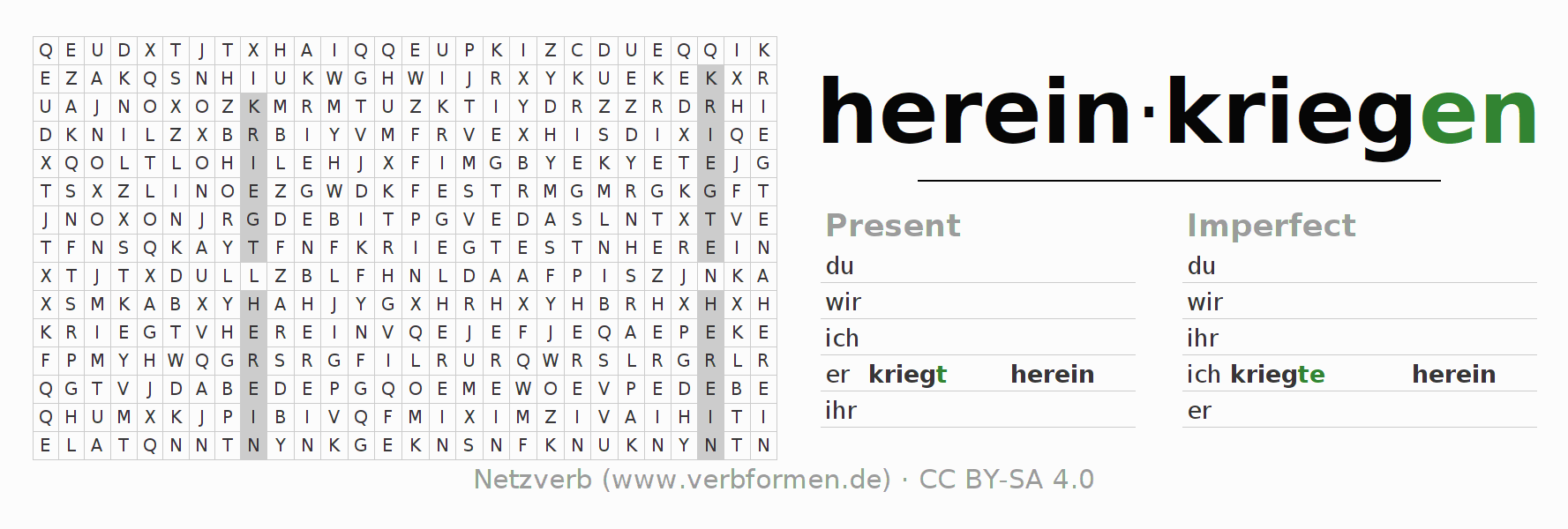 Word search puzzle for the conjugation of the verb hereinkriegen