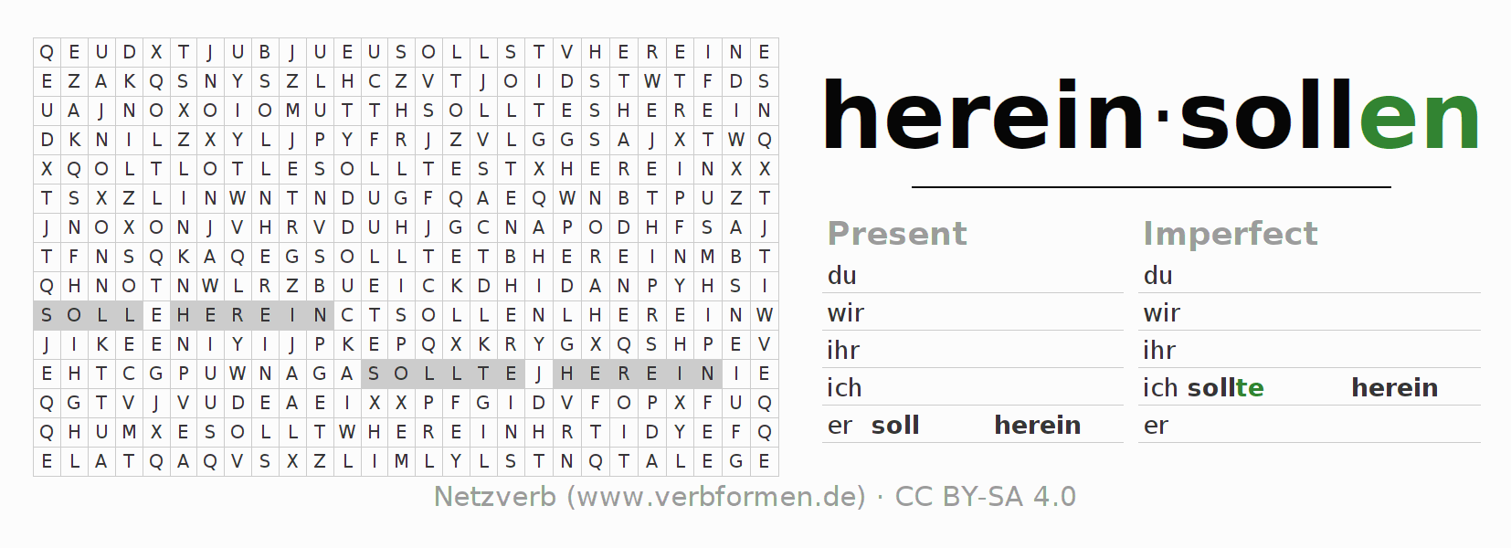Word search puzzle for the conjugation of the verb hereinsollen