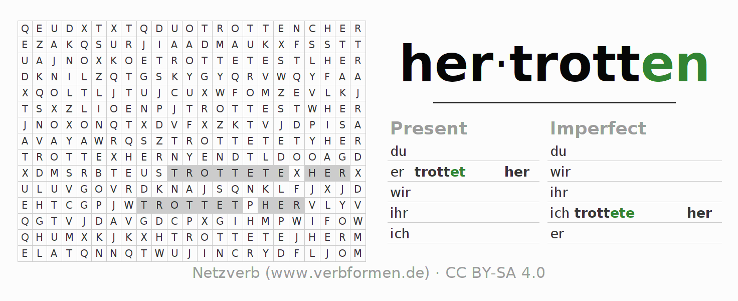 Word search puzzle for the conjugation of the verb hertrotten