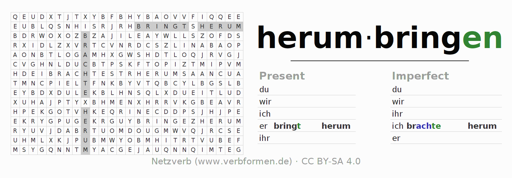 Word search puzzle for the conjugation of the verb herumbringen