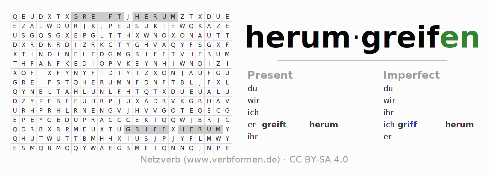 Word search puzzle for the conjugation of the verb herumgreifen