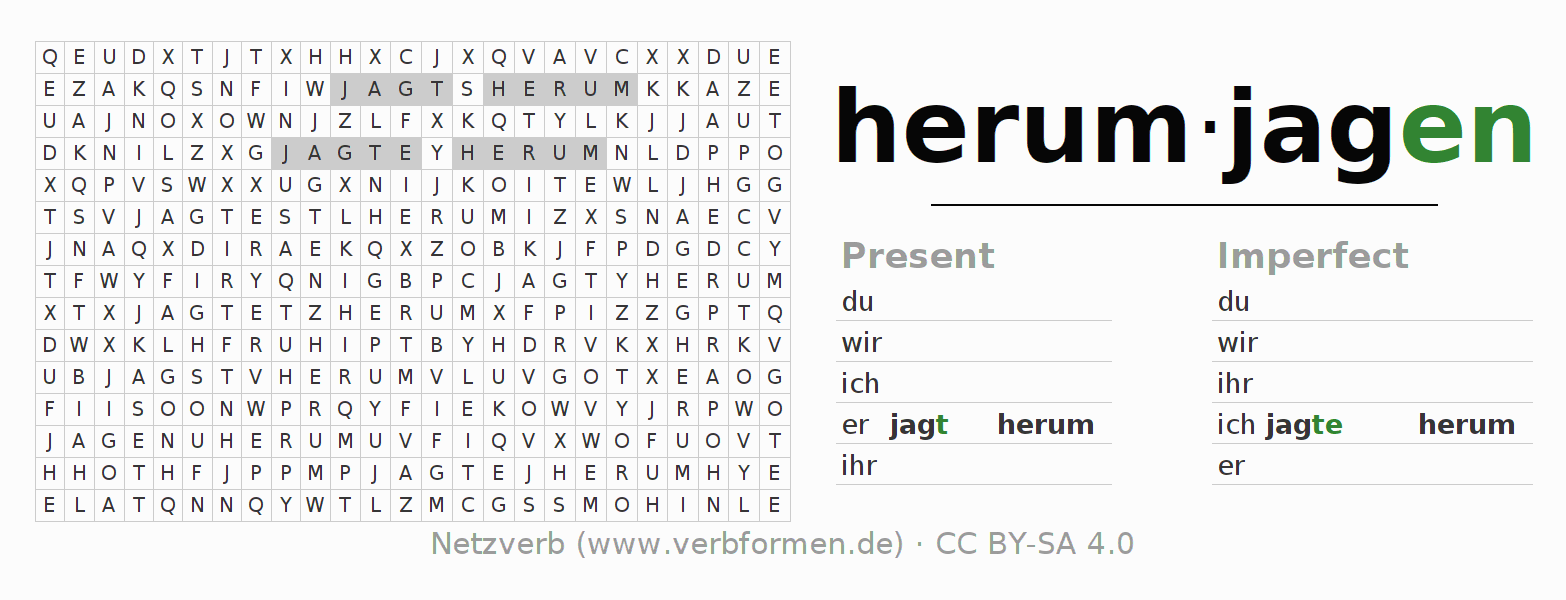 Word search puzzle for the conjugation of the verb herumjagen (hat)
