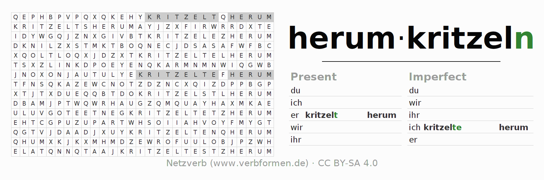 Word search puzzle for the conjugation of the verb herumkritzeln
