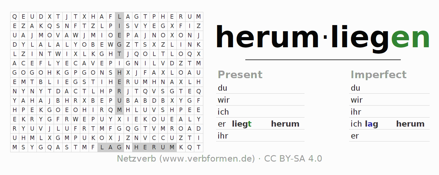 Word search puzzle for the conjugation of the verb herumliegen (hat)