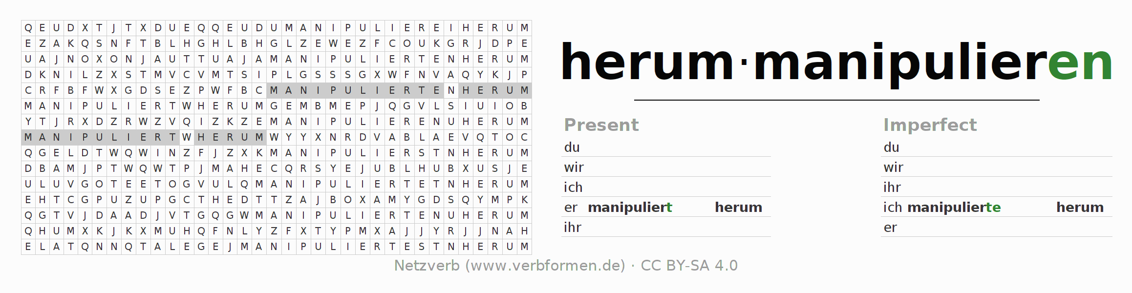 Word search puzzle for the conjugation of the verb herummanipulieren