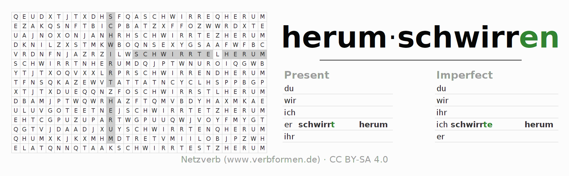 Word search puzzle for the conjugation of the verb herumschwirren